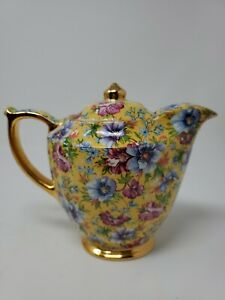 VTG JAMES SADLER SOPHIE CHINTZ 2-CUP COFFEE POT - RARE - ENGLAND FLORAL YELLOW