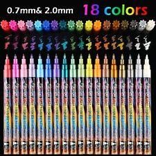 18 Colors Metallic Marker Pens, 0.7 mm Extra Fine Point Paint Pen, Metallic Pain