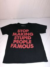 BLACK MATTER STOP MAKING STUPID PEOPLE FAMOUS TSHIRT BLACK SIZE L
