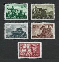 DR Nazi WWII Hungary Rare Stamps 1943 War Scenes Soldiers Attack Luftwaffe Tank