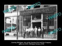 OLD LARGE HISTORIC PHOTO OF LANSING MICHIGAN, THE LANSING FUEL & GAS Co c1910