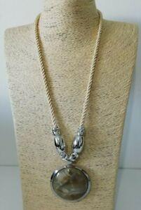 SALOOS Beige Silber Ton glatt Chunky arty Statement Halskette Polster NEU