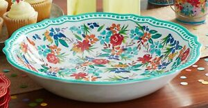 THE PIONEER WOMAN 13.75 INCH MELAMINE TEAL FLORAL SERVE BOWL NEW