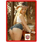 Lonestar Beer Cowgirl In Shorts Refrigerator / Tool Box Magnet