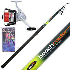 SEA FISHING TELESCOPIC BEACHCASTER ROD 12FT & SEA REEL & HOKIA FEATHERS NGT