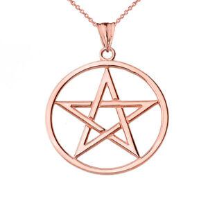 Solid 10k Rose Gold Pentagram  Pendant Necklace