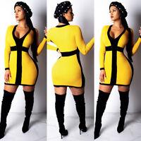 ❤Women Deep V Neck Color Patchwork Long Sleeve Bodycon Club Cocktail Mini Dress