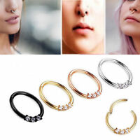 316L Surgical Steel Septum Clicker Nose Ring Ear Cartilage Hoop Studs Piercing