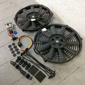 "1978-88 GM G-Body Dual 10"" 1149 CFM Cooling Fans Adj Temp Switch Kit turbo gnx"