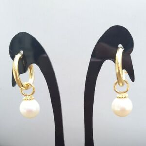 7-8mm natural akoya white AAA round pearl earrings 14k Yellow Gold