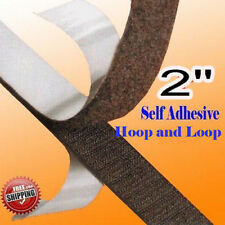 """2"""" x 5 Yards 15 FT Black Self Adhesive Fabric Hook and Loop Stick On Tape 5 cm"""