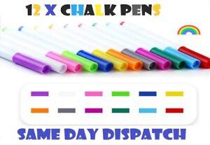 12 Colour Liquid Chalk Pens Marker Glass Windows Blackboard Plastic Pen-pencil🖊
