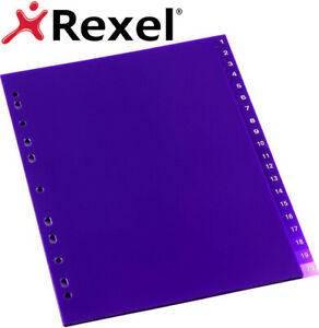 Rexel 1-20 Index Folder Hole Punched Filing Plastic Translucent A4 Dividers