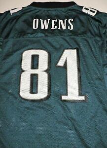 TERRELL OWENS #81 Philadelphia Eagles jersey YOUTH XL Reebok On Field vtg green