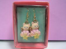 "CHILDREN'S CHRISTMAS KITTY ANGEL EARRINGS - 3/4"" Russ- NEW IN BOX"