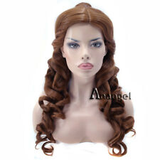 Anogol Belle Princess Cosplay Wig Synthetic Wigs Curly Brown Long Ponytail Hair