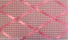Pretty Pink Gingham Fabric Notice Board, Pinboard, Memo Message Board 48 X 30cm