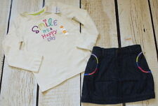 NWT 5 5T Gymboree Color Me Happy Rainbow smile top & embroidered jean skirt set