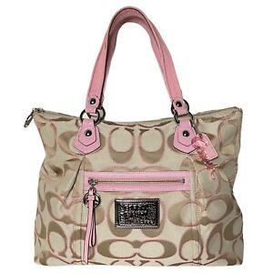 Coach Poppy # 16289 - Canvas Signature Lurex Glam Tote Large bag - Khaki/ Pink