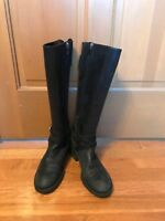 Enzo Angiolini Easaevon Women's Riding Zipped Knee High Boots Leather 7,5 Black.