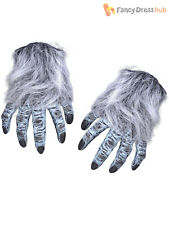 Deluxe Rubber Werewolf Gloves Hairy Hands Wolf Claws Adult Halloween Fancy Dress