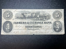 1861 Farmers & Exchange Bank of Charleston South Carolina $5 Obsolete Note