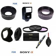 40.5MM TELEPHOTO ZOOM LENS + WIDE ANGLE LENS + FLASH+GIFTS FOR SONY ALPHA A6000