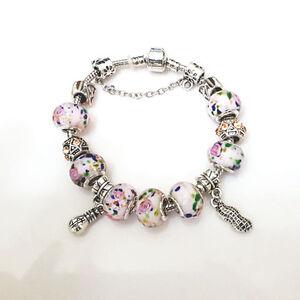 NEW Silver Flower Swirl White Murano Beads Charm Bracelet Masino Collection
