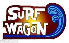 SURF WAGON Vinyl Sticker Decal Longboard Surfing KOMBI VW Panel Van Surfboard