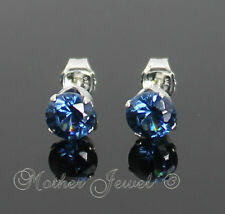 5mm REAL SOLID 925 STERLING SILVER Round Sapphire Blue CZ Mens Ladies Earrings