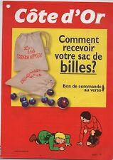 Feuillet publicitaire Côte d'Or le sac de billes. Quick et Flupke. Hergé