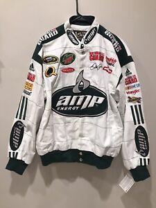 Dale Earnhardt Jr Amp Energy Jacket Racing Chase M NASCAR White Green Coat New