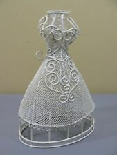 NEW Corset Dress Bud Vase Ivory WHITE Metal Wire Mesh 109258