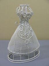 Tenderheart Treasures CORSET Dress BUD VASE Ivory WHITE Metal Wire Mesh