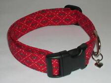Charming Handmade Red with Christmas Holly Dog Collar X-Small