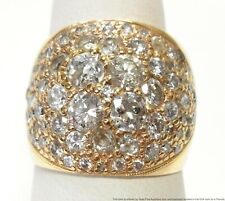 3ctw Fiery Old Euro Cut Diamond 14k Gold Ring Ultra Wide Antique Cigar Band 7.5