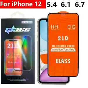 21D FULL COVER Tempered Glass Screen Protector For NEW iPhone 12 Pro,12 Mini,Max
