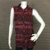Apt. 9 Womens Blouse Small Oversized Collared Geometric Button Front Sleeveless