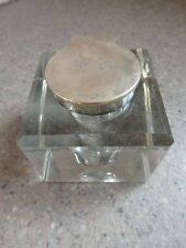 Antique Very Large Solid Silver & Cut Glass Inkwell 1928