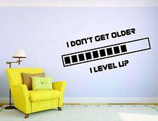 Gamer Wall Mural Sticker Decal Vinyl Decor Player Level Up Get Older Video Games