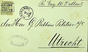 SURINAME 1891 15c WILLIAM III ON COVER FROM PARAMARIBO TO UTRECHT NETHERLANDS