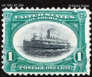 US 1901 SC 294 PAN-AMERICAN EXPO 1¢ GREEN STEAMSHIP ALPENA MLH OG P12  F/VF