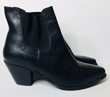 Womens DINGO Black Leather Western Cowgirl Ankle Boots Booties Pointed Toe 8.5