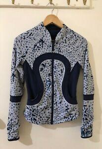 LULULEMON Blue Ink Pattern Navy Reversible Scuba Jacket Slim Fit Zip US 4 AUS 6