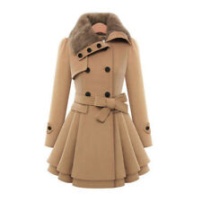 Women Thicken Fur Collared Winter Long Peacoat Coat Trench Outwear Jacket Dress
