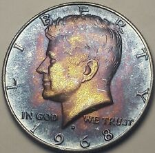 1968-D USA KENNEDY HALF DOLLAR SILVER UNC CHOICE BU TONED FLAWLESS COLOR (DR)