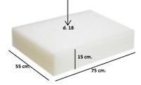 Spugna Gommapiuma 75x55x15 densità 18 poliuretano Espanso tappezzeria imbottiti