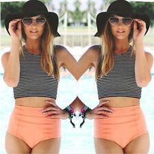 Womens Bikini High Waist Crop Tops Push Up Padded Bra Crop Swimsuit Swimwear Set