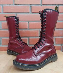Dr Martens Women 6 UK 8 US 39 EU Tall Boots 1b99 1914 Patent Cherry Red 14 eye