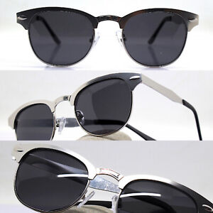 Sunglasses Men Woman Oval Classic Metal Silver Opaque Black Vintage 50